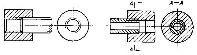 7以剖视图表示内外螺纹的连接时