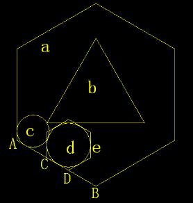 步骤二:利用三点画圆(切点—切点—端点)绘制小圆c,再用相切—相切