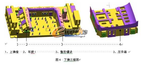 张明扬 关键字:三维 模具设计   本文简述了轻卡车型顶盖整形、侧整形模设计要点,通过创新、优化设计,采用刚性和弹性驱动相结合的原则,完成多种复合斜楔的紧密滑配运动,成功实现了本工序内容,减少了模具整体外形尺寸,大大节约了原材料成本,缩短了模具制造周期,保证了产品质量。 1 前言   近几年来,随着国内汽车产业的兴起,开发出具有自主品牌的汽车,各个厂家竞争日趋激烈,产品质量要求越来越高,车型更新换代越来越频繁,因此,力争提高汽车模具设计的效率及其加工精度;缩短模具的开发制造周期,对于新车型早日推向市场,具